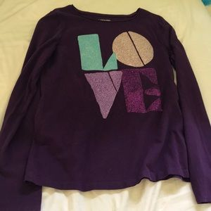 purple long sleeve love shirt